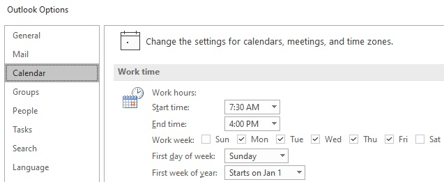 Outlook calendar settings for working hours