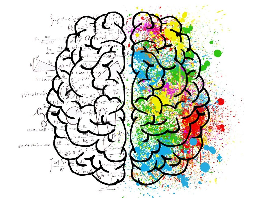 2 halves of brain with mathematical symbols on left and multiple artistic colors on right